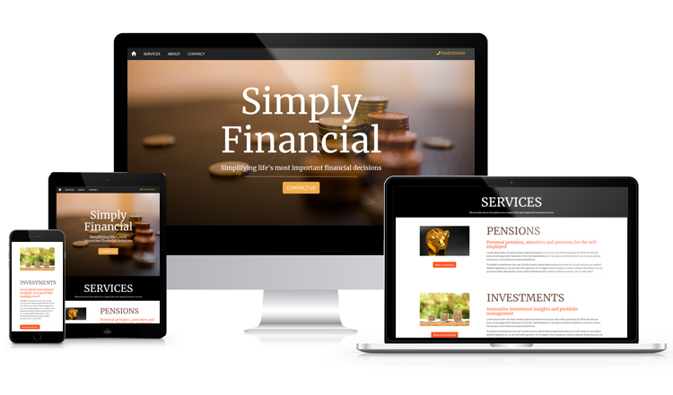 Financial services website on various devices