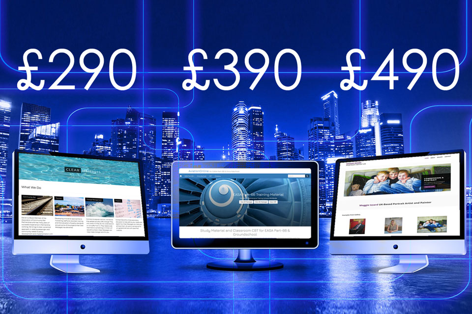 Websites and prices with city backdrop